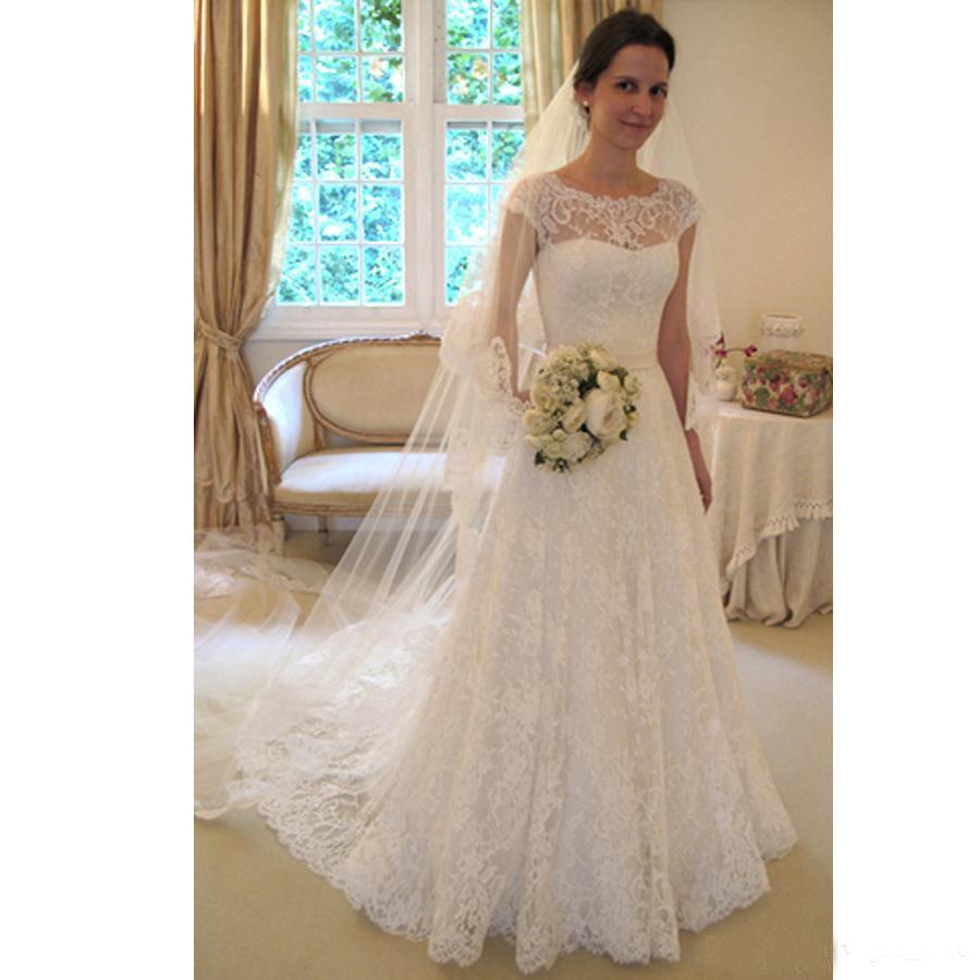 Discount Appliques Scoop Wedding Gowns 2017 Lace Vintage