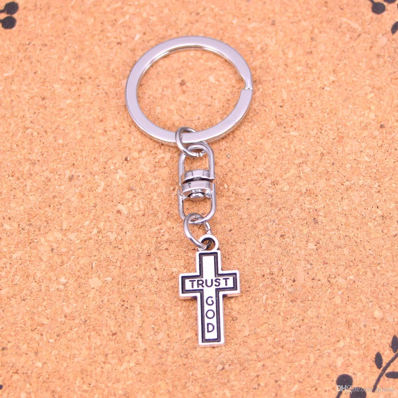 New Fashion cross trust god Keychains Antique Silver plated Keyholder fashion Solid Pendant Keyring gift