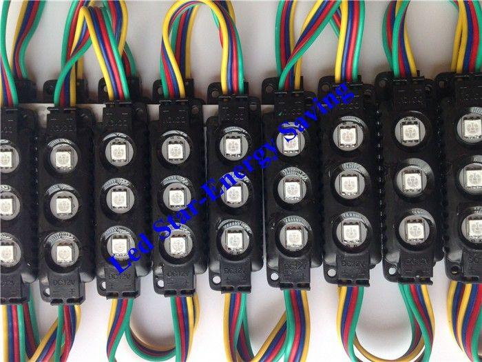 Siyah LED RGB Modülleri 10ft = 20 adet Enjeksiyon ABS Plastik 5050 SMD Led Modülleri 3 Leds / 1.2W Led Arka Işıklar Dize