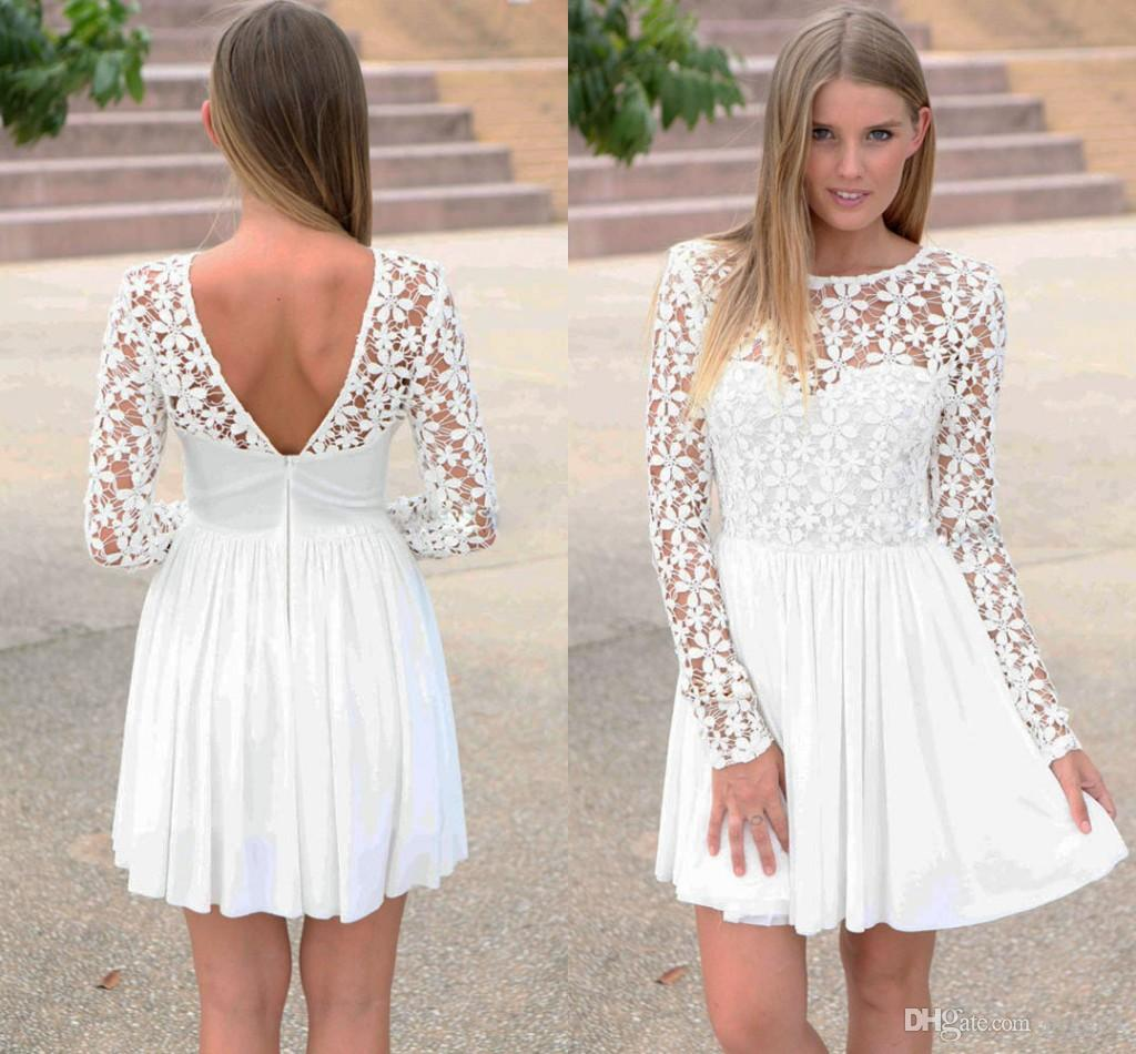 Innocent White Embroidered Princess Skater Dress 2018 Long Sleeve