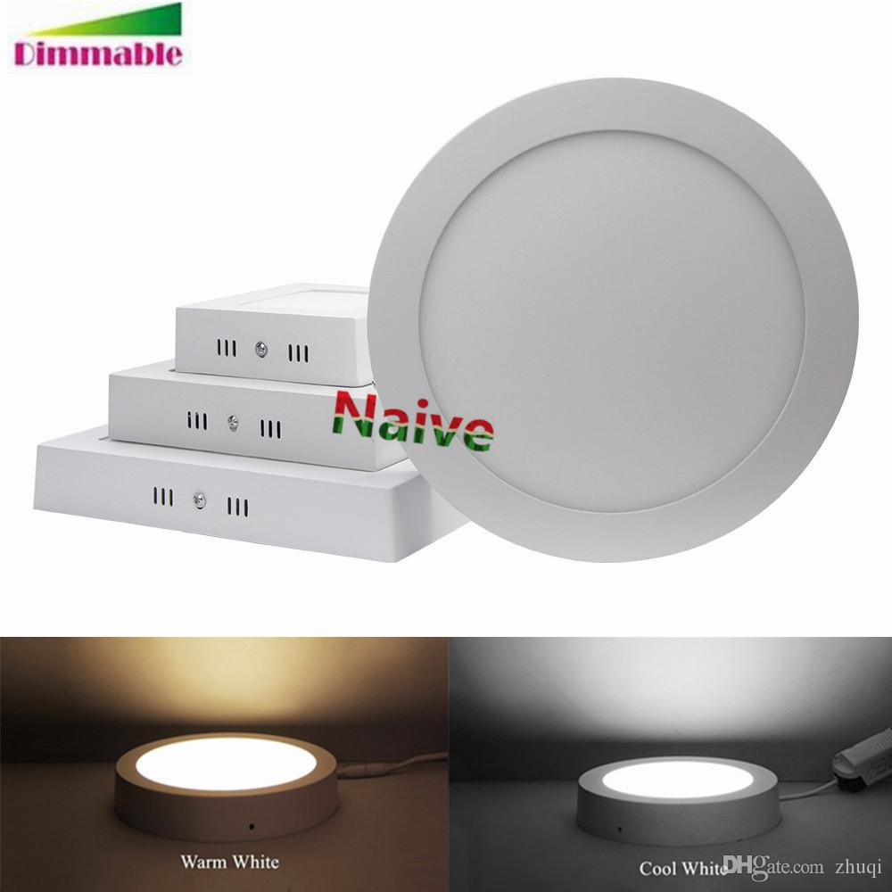 2018 Surface Mounted Round Square Led Panel Light 5 7 9 12 Inch 6w 12w 18w 24w Dimmable Ceiling Lights Downlight From Zhuqi 708