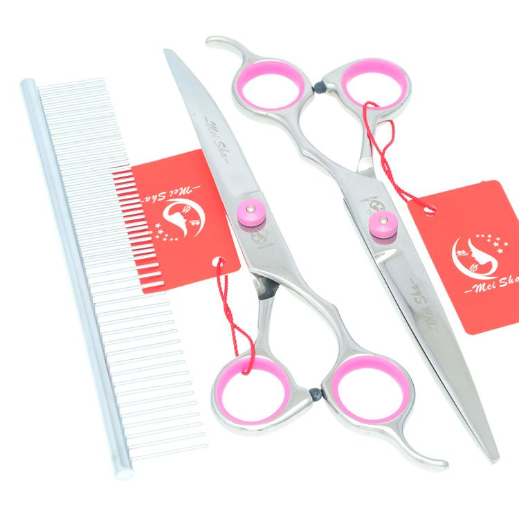 7.0Inch Meisha Professional Pet Grooming Scissors Kits Pet Cutting & Thinning & Curved Dog Shears JP440C Clippers for Dogs, HB0049