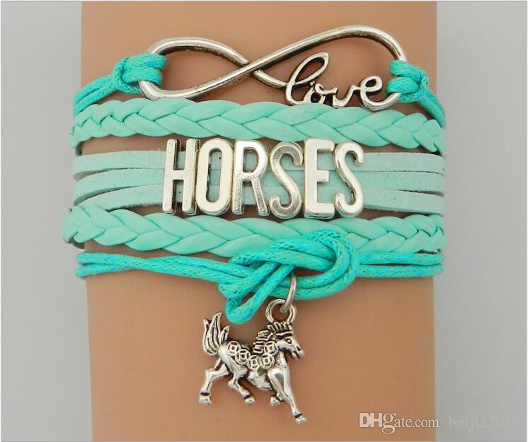 Livraison gratuite Mode Charms Bracelets En Cuir Bracelets Horse 5 Couleurs Infinity Cheval Bracelets De Jeunes Can Bijoux Peut personnaliser votre idée
