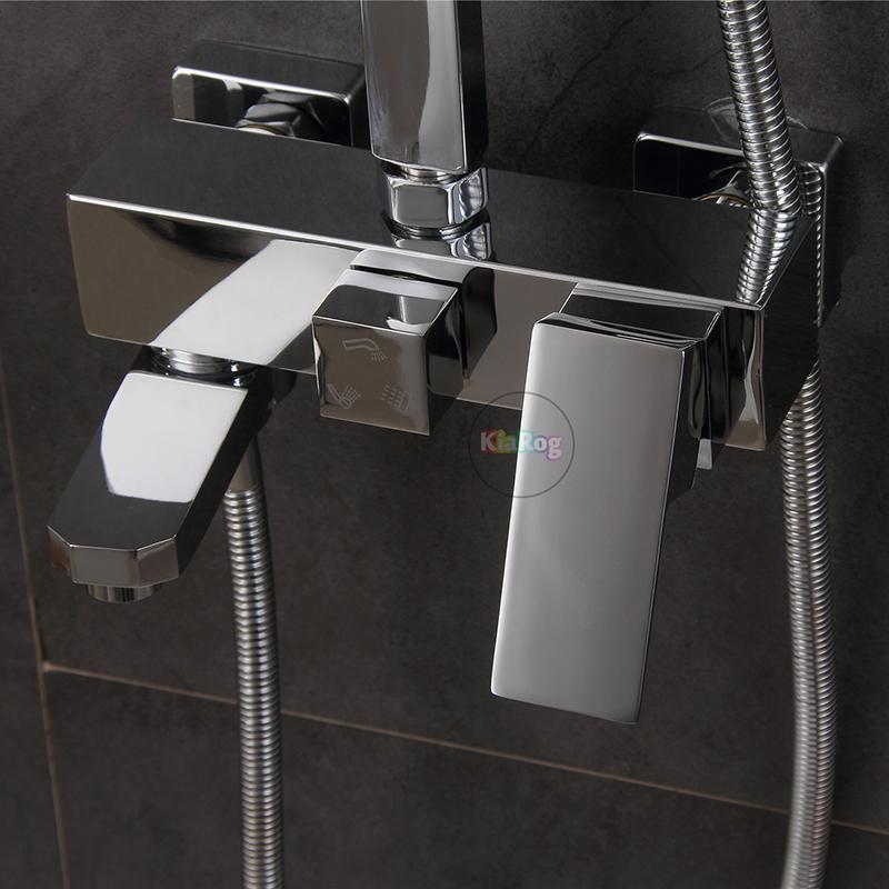 Shower Faucet.3 Functions Shower Mixer.Wall Mounted Bathtub Mixing ...