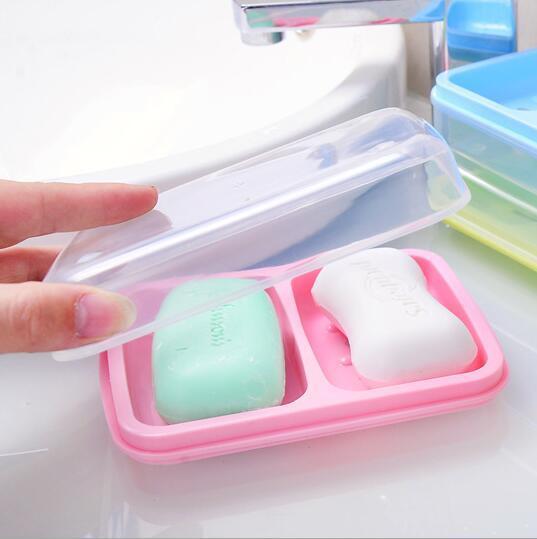 Hotsale couleur bonbon portable de voyage étanche en plastique double porte-savon boîte à savon avec couvercle porte-savon conteneur salle de bains accessoires