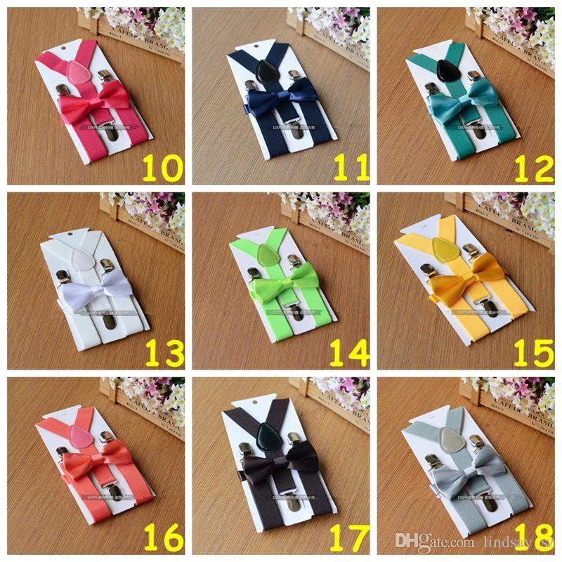 26 cores Suspensórios Crianças Bow Tie Set para 1-10 T Bebê Cintas Elásticas Y-back Meninos Meninas Suspensórios acessórios transporte rápido