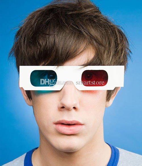DHL libera il trasporto / bianco blu libero 3D degli occhiali 3D dell'anaglifo 3D della carta di carta blu ciano 3D Trasporto libero 0001