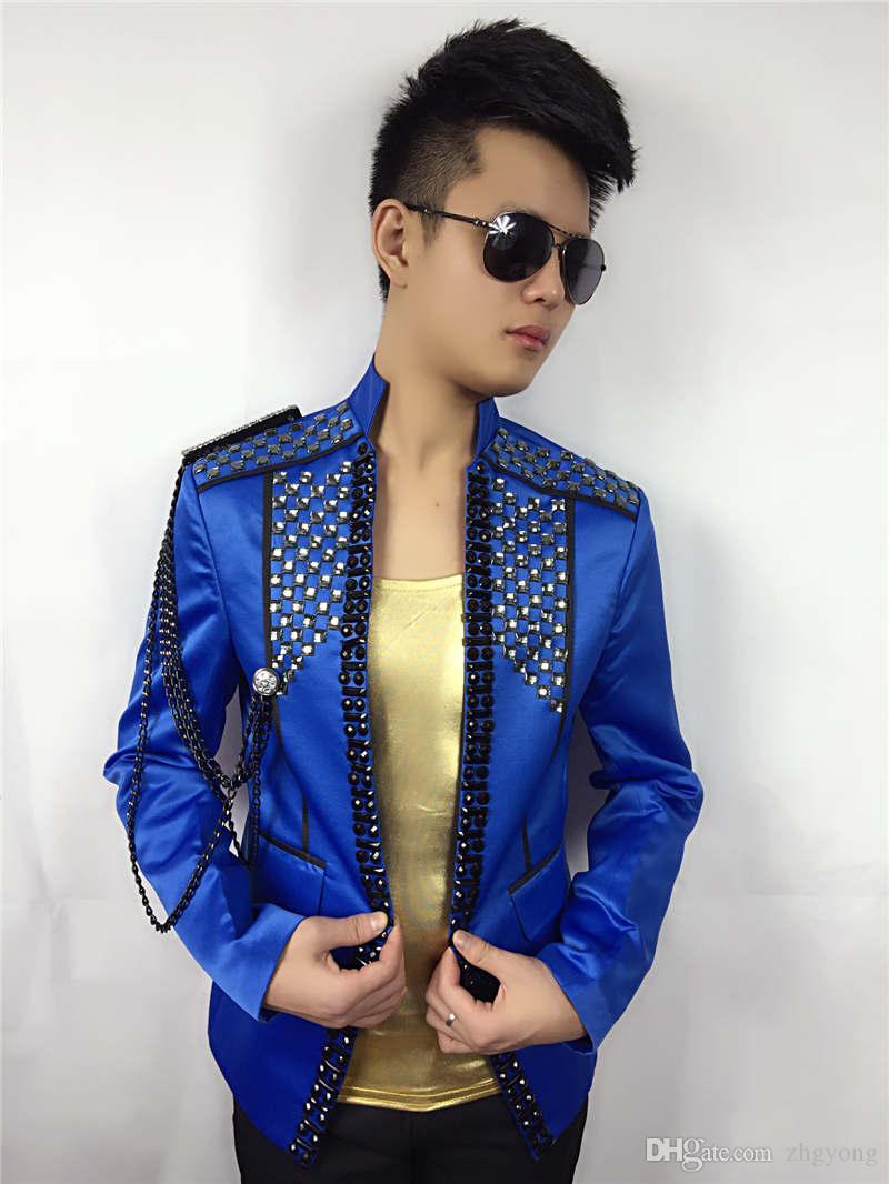 hommes diamants vestes bleu rouge noir strass blazer outwear manteau chanteur danseur performance discothèque bar marié bar fashion crèmes