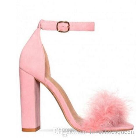 2017 tacones gruesos bombas zapatos de fiesta de las mujeres gladiador sandalias punta abierta moda zapatos de piel correa de tobillo