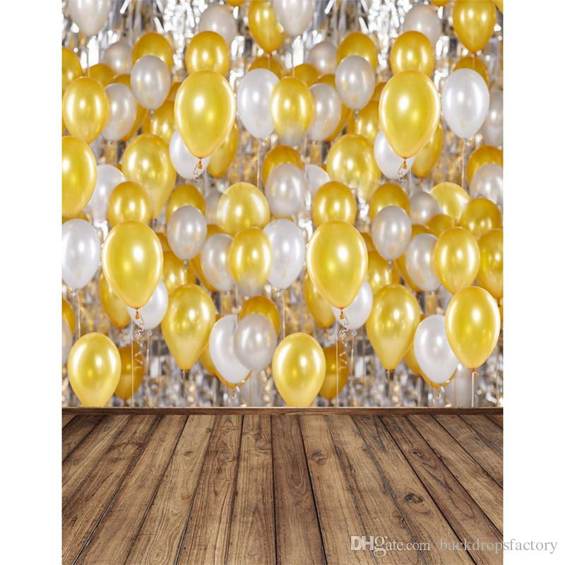 2018 Wood Floor Vinyl Background For Photography White Gold