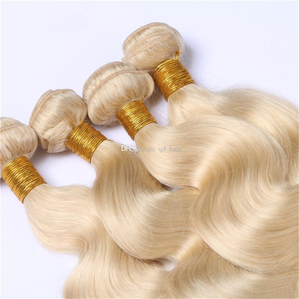 Hot Brazilian Blonde #613 Human Hair 4 Bundles Pure Color Double Wefted Body Wave #613 Brazilian Human Hair Extensions