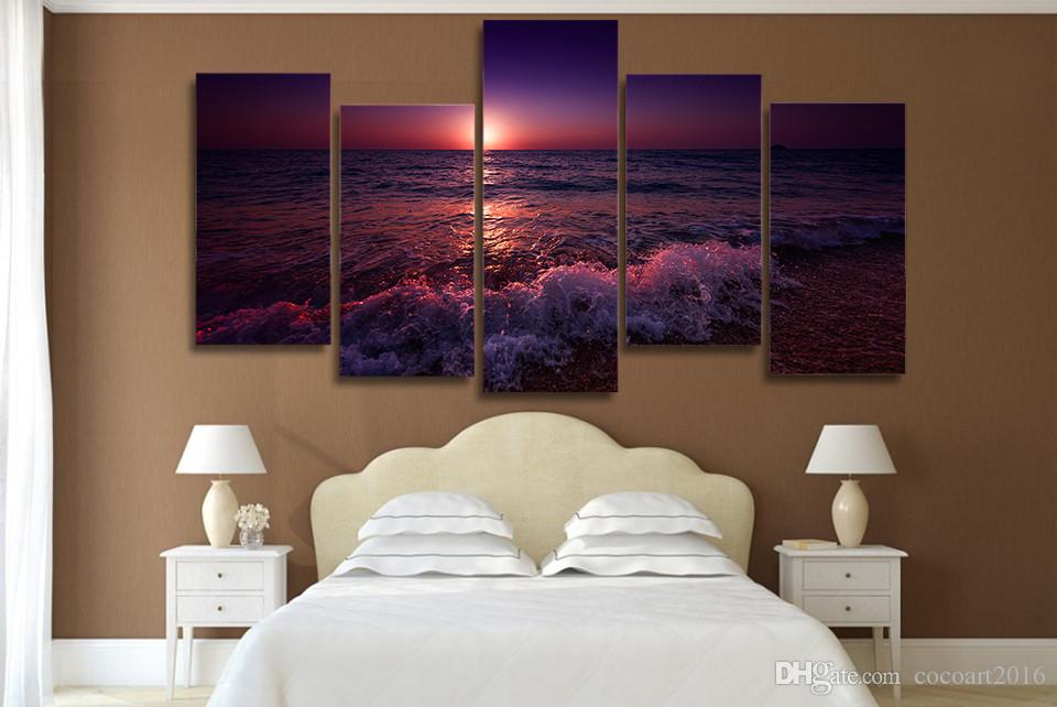 / Set Encadré HD Imprimé Grèce Ionienne Mer Soir Ciel Ciel Mur Art Toile Impression Room Decor Affiche Toile Peinture Mur
