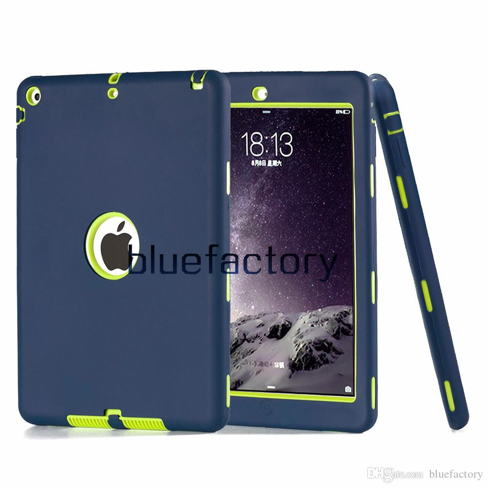3 em 1 armadura robô híbrido case para ipad 1 2 3 4 silicone + pc extrema defensor à prova de choque capa tablet pc de volta case para ipad air ipad air 2