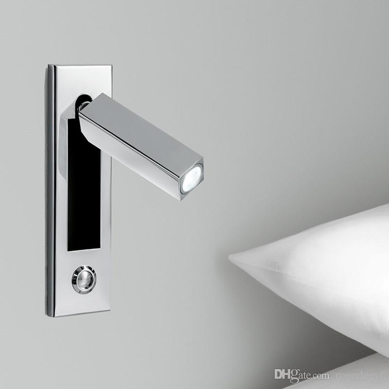 Topoch Contemporary Wall Lights Semi-Recess On/Off/Dimmer Switch Chrome Finish Head Swivels 90degree Left/Right/Forward AC100-240V DC12V