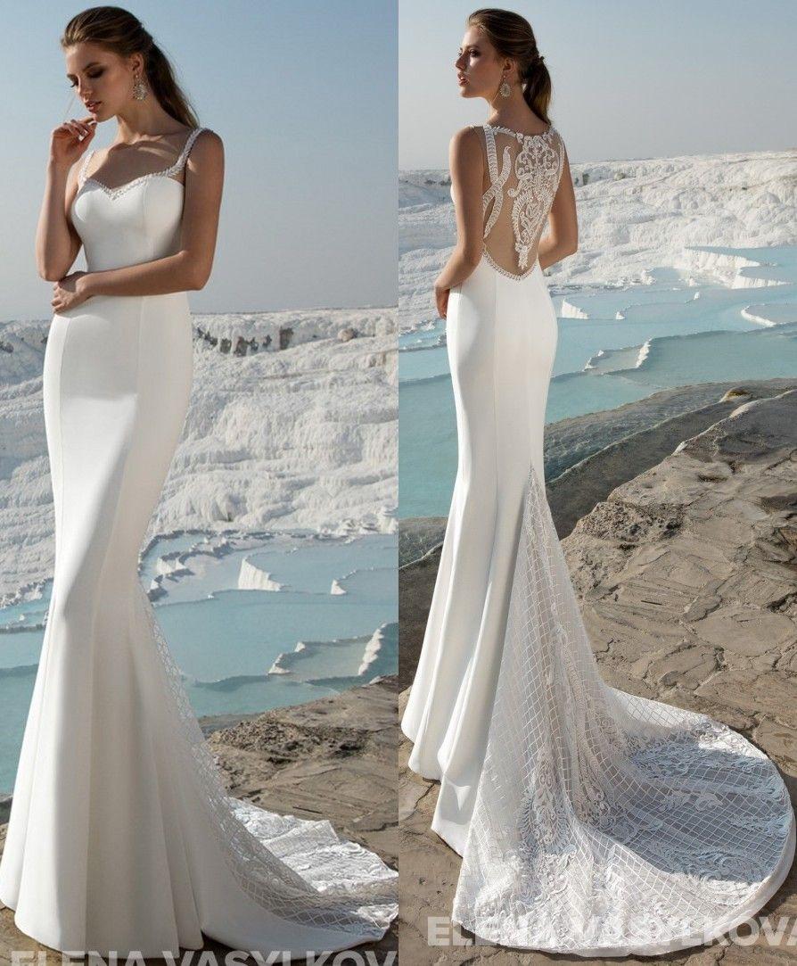 2017 Lace Mermaid Arabic Wedding Dresses Spaghetti Satin Sweep Train ...