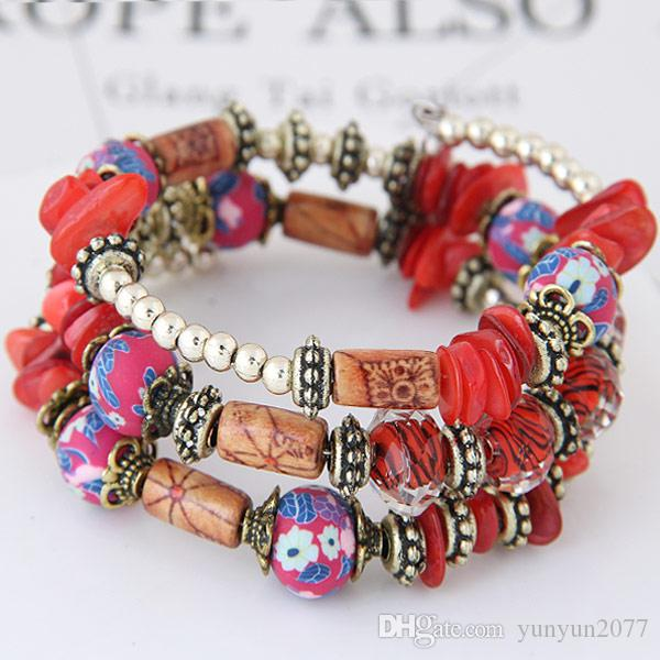 Bohemia Ethnic Fashion Jewelry Vintage Retro Bronze Shell Beads Flowers Accessories Statement Multilayer Bracelets Women Elasticity Bangles