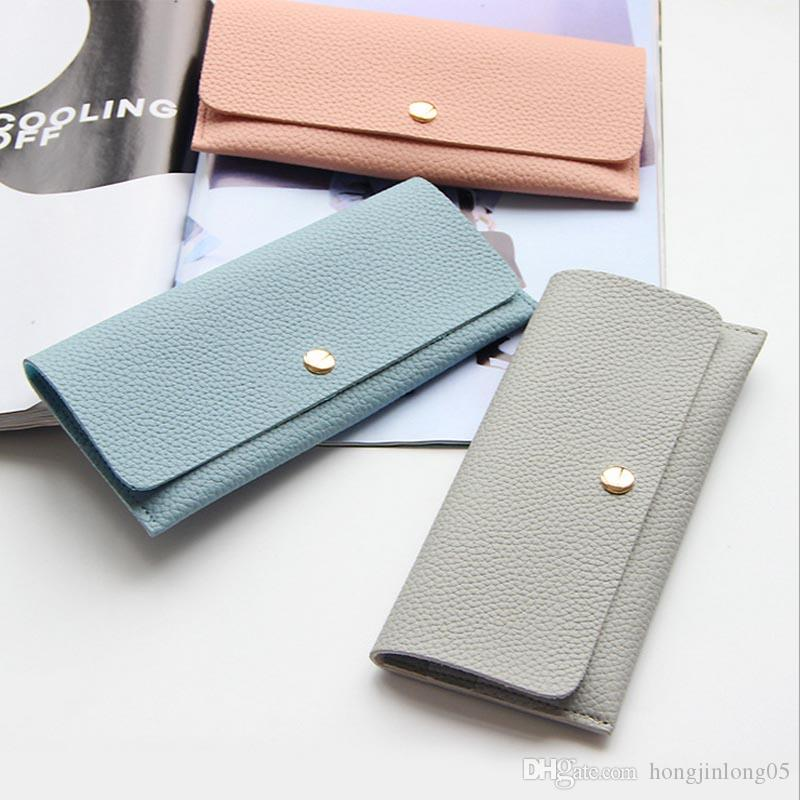 1e9a76f38d5 Thin Solid Pu Leather Long Women Wallet Change Purse Money Bag Card Holder  Ladies Wallets Clutch Coin Purse Hand Bag Wholesale