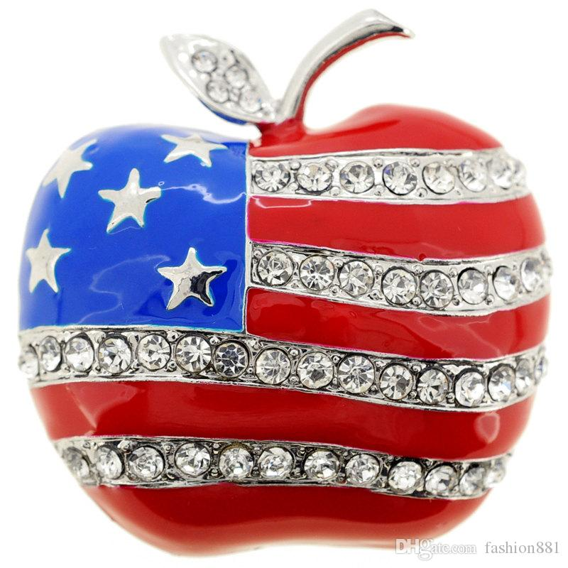 American Flag Apple Pin With Pin Brooch