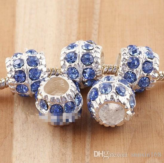 silver plated Wholesale Baby Blue Crystal Drum Big Hole Loose Spacer European Beads Fit Charm Bracelet