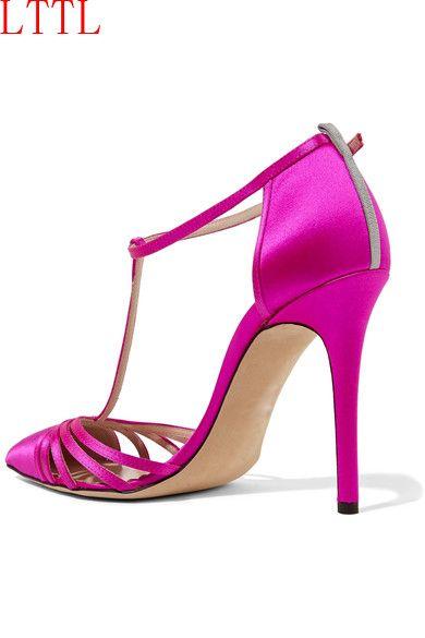 2017 mode frauen hot pink pumps sexy high heels knöchelriemen pumps spitz partei schuhe schneidet pump dünne ferse glitter fersen