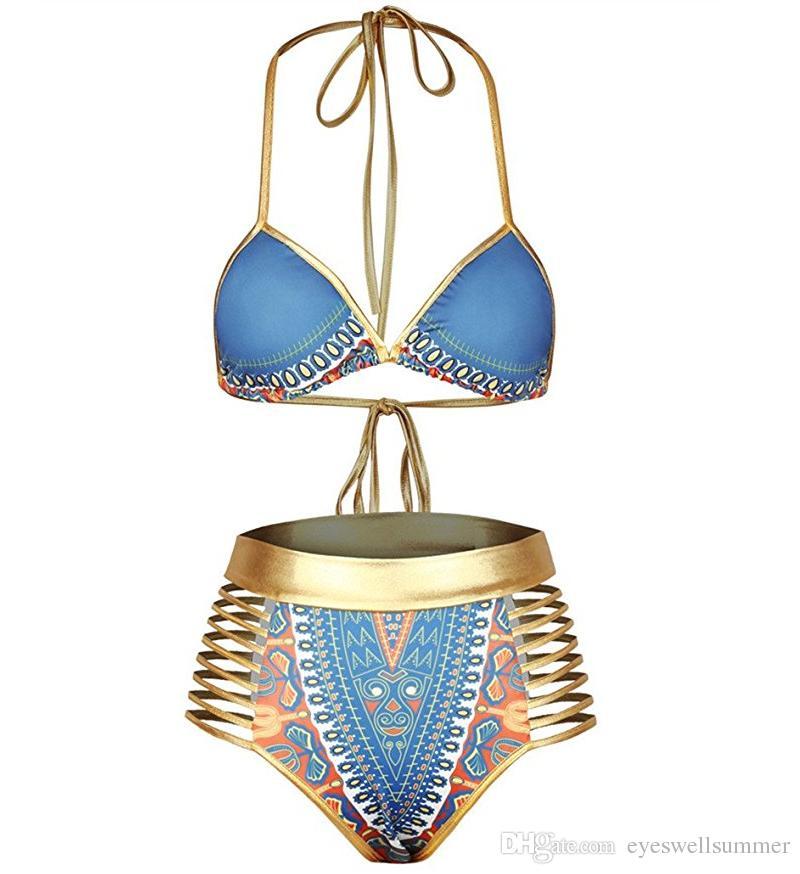 مثير جنوب أفريقيا الذهبي الرسن بيكيني عالية الخصر السباحة قطعتين ملابس النساء المايوه bather