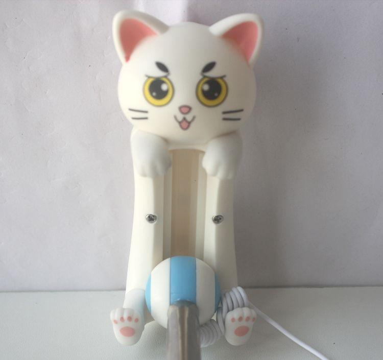 M7 Cat Cute Foldable Super Mini Wired Selfie Stick Handheld Extendable Monopod -Built in Non-slip Handle Compatible Selfie Monopods