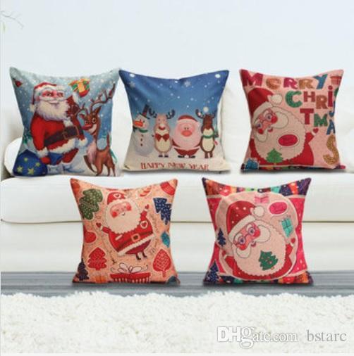 See larger image & Christmas Santa Cotton Linen Pillow Case Cushion Cover Xmas Home ... pillowsntoast.com