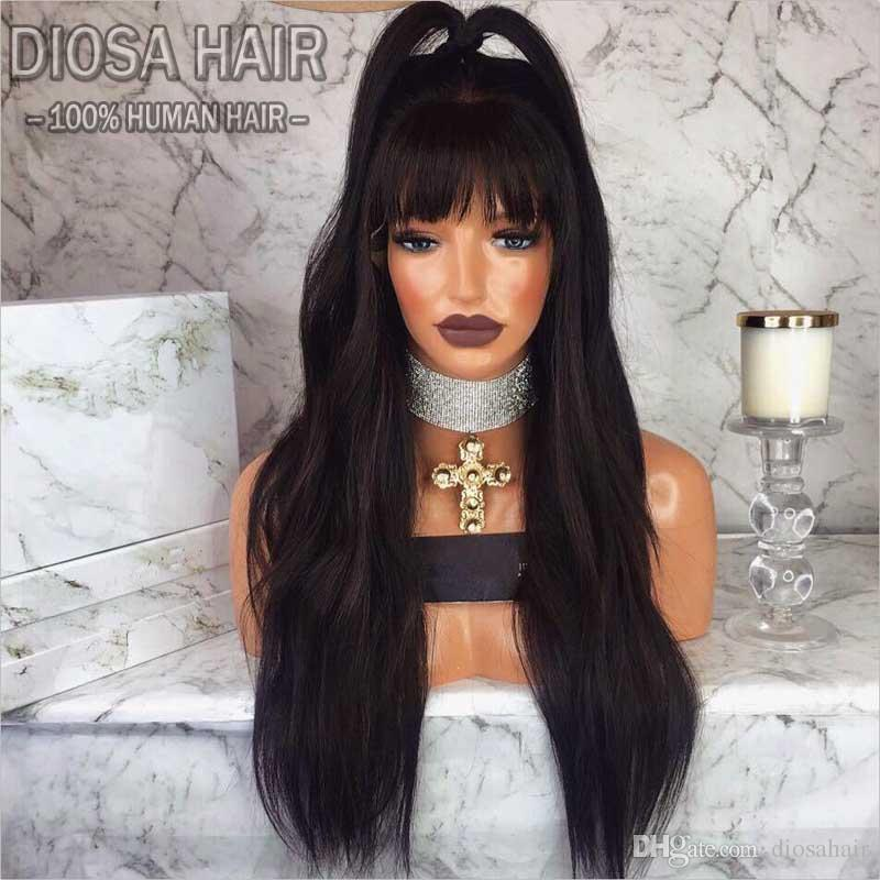 180 Density Full Lace Human Hair Wigs With Bangs Brazilian Full Lace Wig Glueless Lace Front Human Hair Wigs For Black Women