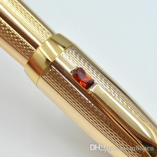 High Quality Gold metal Fountain pen with gem school office stationery luxury Writing 4810 nib ink pens for Gift MT1094088