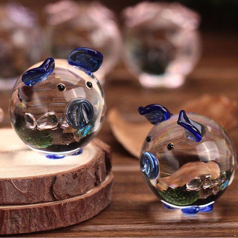 2 pz / set Carino Cristallo di Vetro Maiale Artigianato Arte Figurine Pietra Ornamenti In Miniatura Decorazione Della Casa Regali di Nozze Souvenir ZA3172