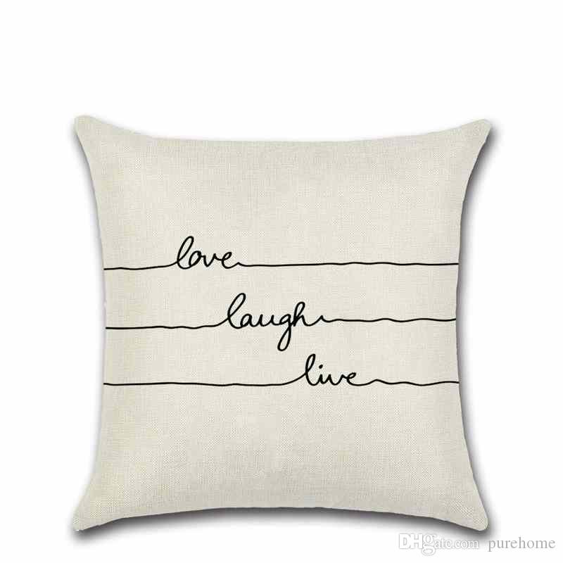 Black And White Love Laugh Live Letters Linen Pillow Case Sofa Cushion Cover 45*45CM Home Cafe Office Decor Gift for Housewarming Party