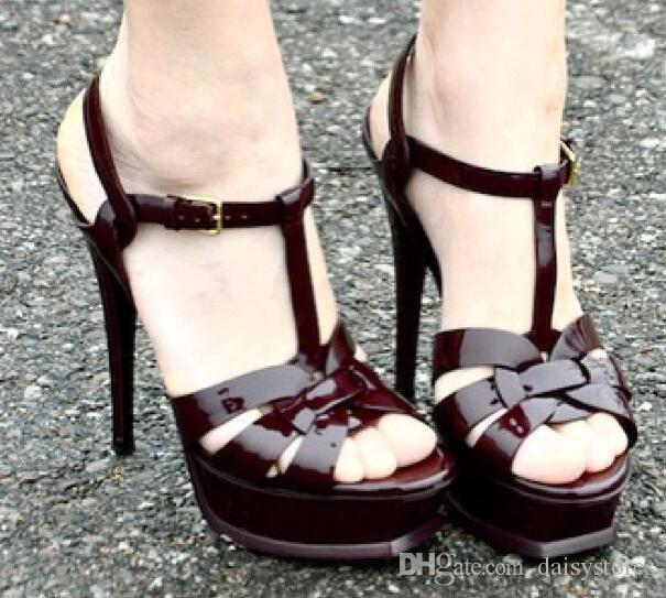 New Tribute Patent / Sandalias de plataforma de cuero suave Zapatos de mujer T-strap Sandalias de tacón alto Lady Shoes Pumps Original Leather