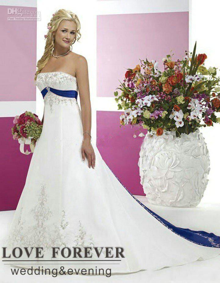 2019 New Vintage Style Plus Size Wedding Dresses Silver Embroidery On Satin White and Royal Blue Floor Length Bridal Gowns Custom Made 126