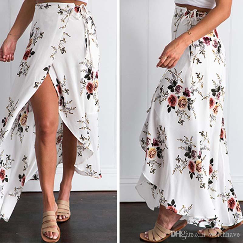 0407f8bab6 Vintage floral print long skirts women Summer elegant beach maxi skirt Boho  high waist asymmetrical skirt