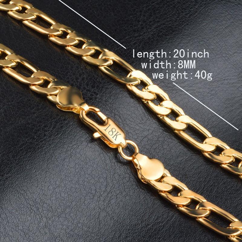 Mode 18 Karat Reales Gold Überzog Figaro Ketten Halskette Armband Für Männer Halsketten Armbänder Mit 18 Karat Stempel Heiße Männer Schmuck Kostenloser Versand