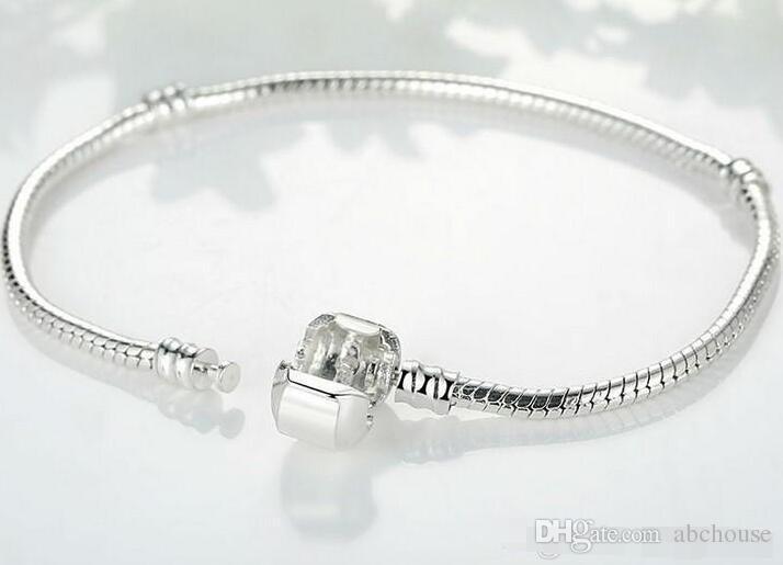 925 Silber überzogene Armband Schlangenkette mit Fassverschluss Passende europäische Perlen für Pandora-Armbänder mit ohne Logo DIY Kostenloser Versand