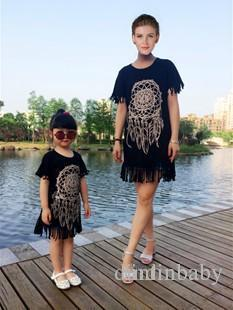 2016 Summer Mother Daughter Dresses Short Sleeve Matching Clothes Cotton Tassel Mom And Baby Girls Family Outfit Look Kids Clothing