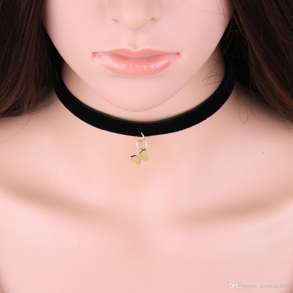 Hot Selling Cute Insect Butterfly Pendant Black Korea Velvet Rope Choker Collar Bug Necklace Female Collier Bijoux Girls Gift EFN007V