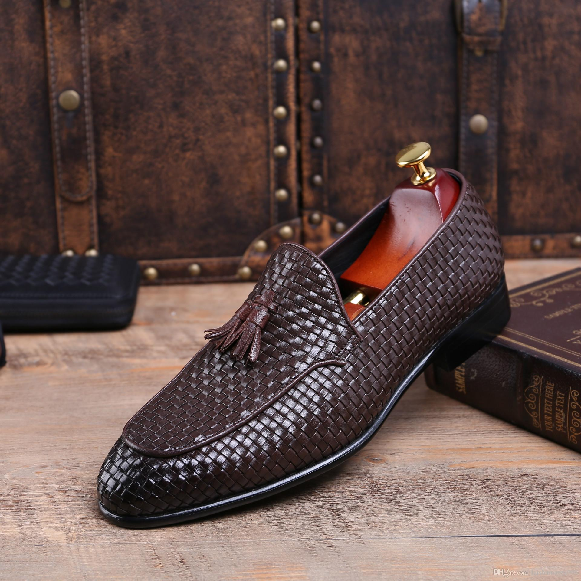 b505f909c44 Fashion Italian Men Shoes Genuine Leather Mens Dress Shoes Sales Carved  Designer Wedding Male Oxford Shoes Men Flats Clogs For Women Cheap Shoes  Online From ...
