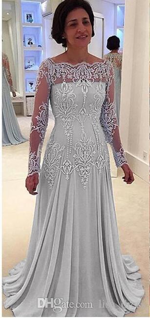 Vintage Long Sleeves Mother of Bride Groom Dresses Beaded Lace Appliqued Women's Formal Dress
