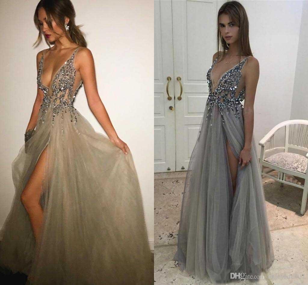 Pailletten kleid lang grau