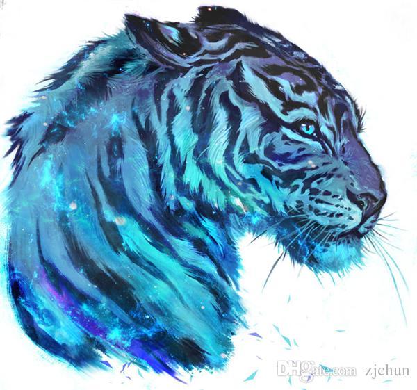 Nouveau bricolage mosaïque diamant peinture point de croix kits animal bleu tigre plein résine ronde diamants broderie travaux de broderie Home Decor