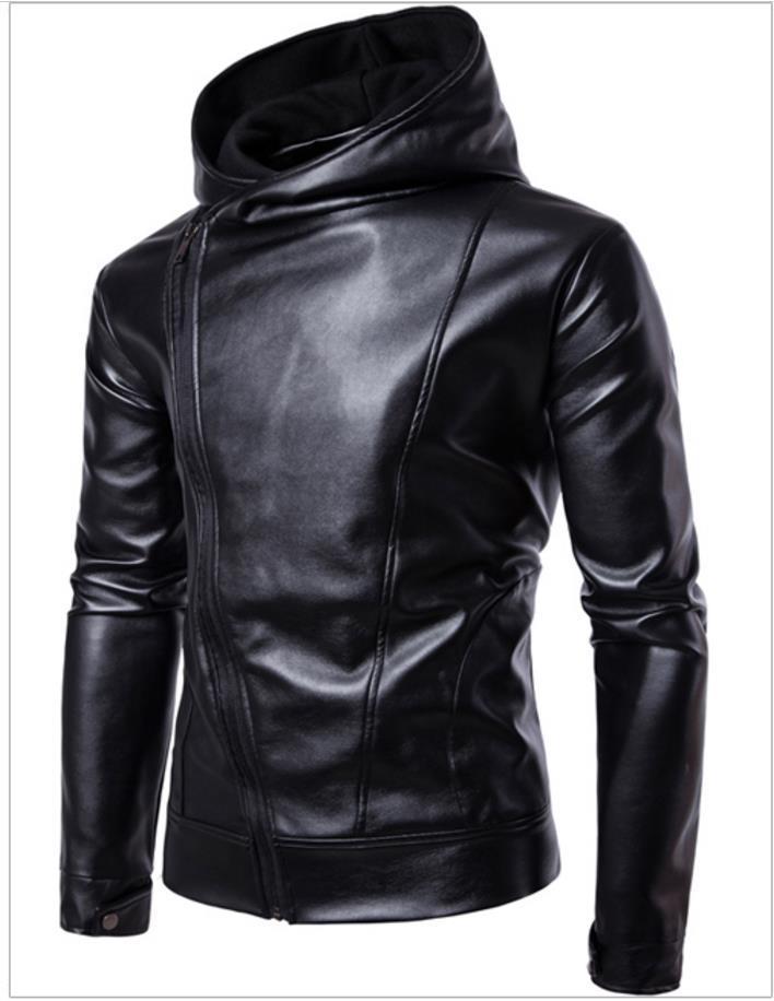 بو الجلود سترة سوداء بلون تصميم انحدر سستة جيوب مقنع كم طويل سليم صالح لل رجل دراجة نارية jakcets السفينة مجانية 2017