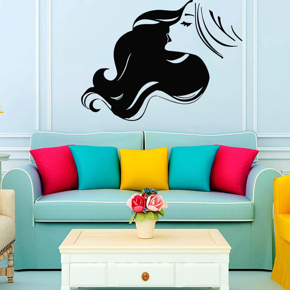 Beauty Woman Salon Wall Decal Vinyl Sticker Hairdressing Haircut Adhesive Art Mural Interior Living Room Barber Tree Stickers For
