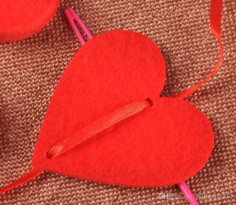 Tela no tejida que cuelga la cadena del corazón rojo decoraciones del partido del día de San Valentín Compromiso de la boda línea del partido cortinas de la puerta envío gratis