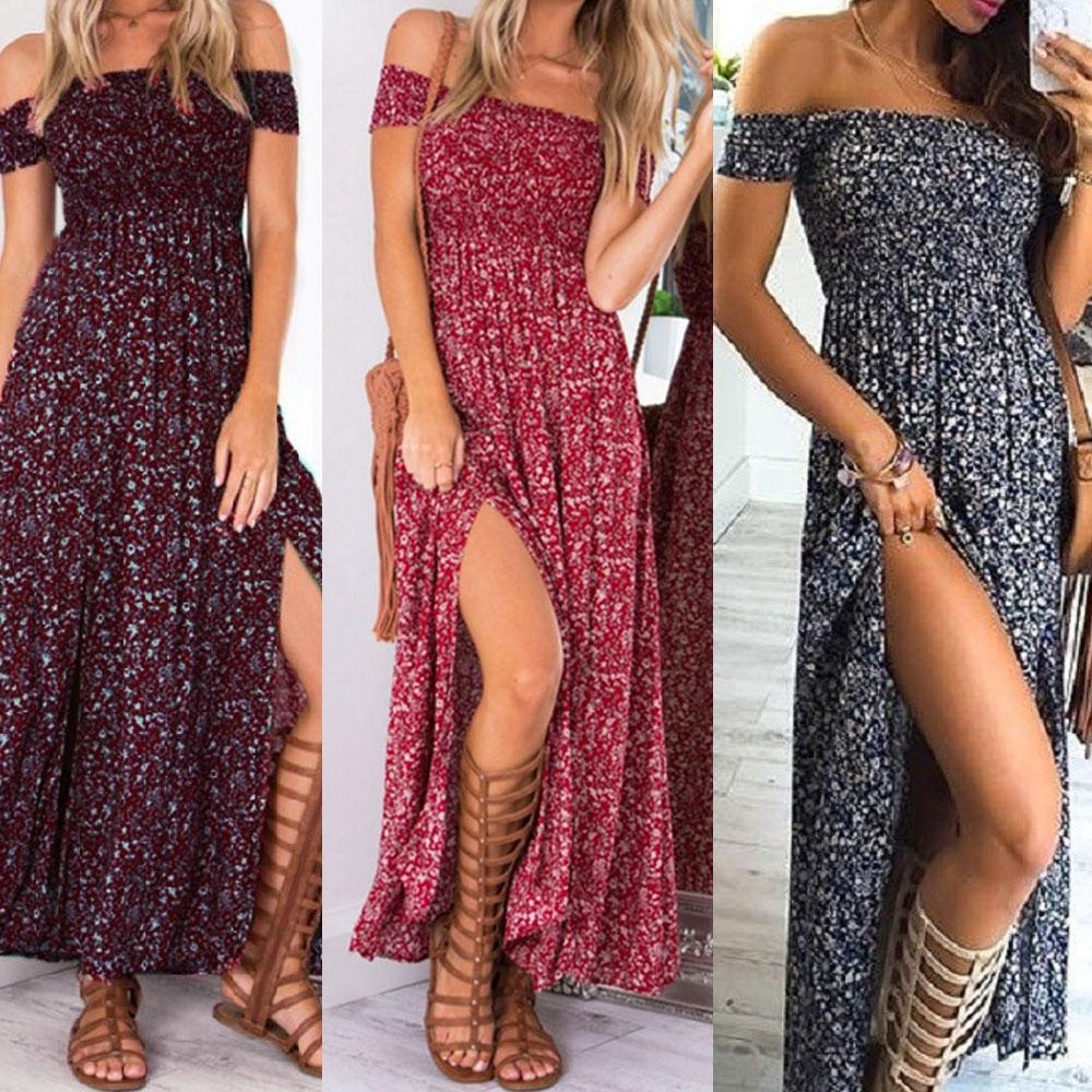 5da00f6c9900 Slash Neck Off The Shoulder Long Boho Dress Short Sleeve Split Summer Beach  Bohemian Cocktail Party Dresses Sundress Womens Black Dress Evening Dresses  On ...