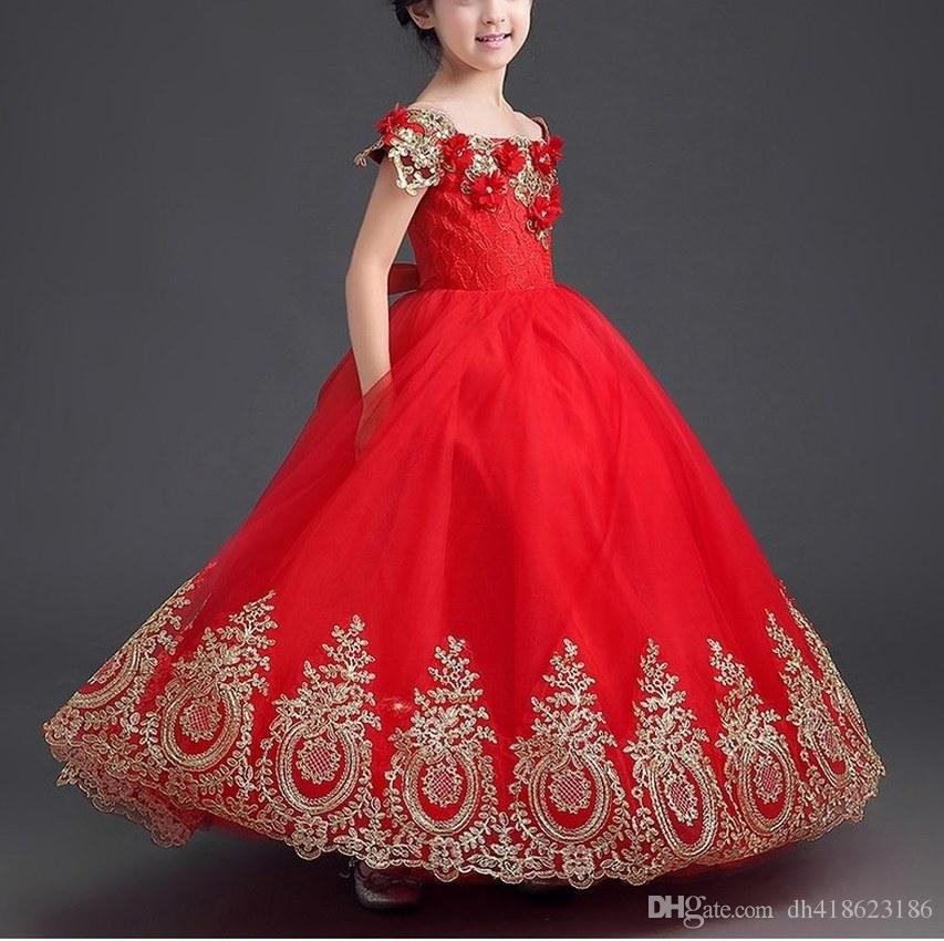 db12bd924 Luxury Gold Appliques Ball Gown Off the Shoulder Red Long Girls ...