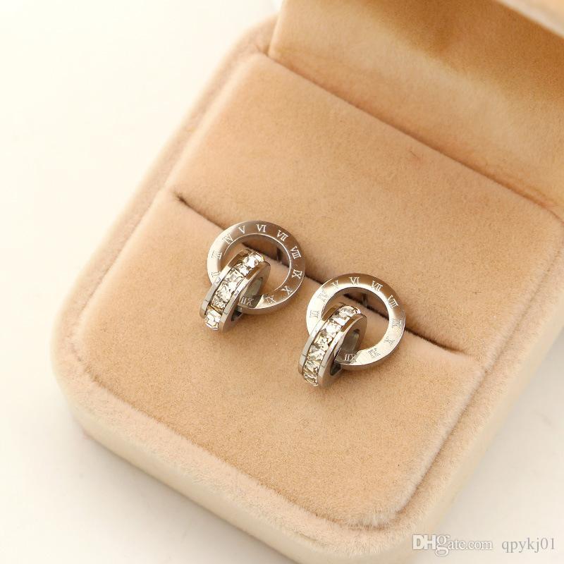 Orecchini d'amore d'amore dell'acciaio inossidabile 316L di trasporto libero con i piccoli orecchini di cristallo gli uomini delle donne Coppie all'ingrosso all'ingrosso di gioielleria