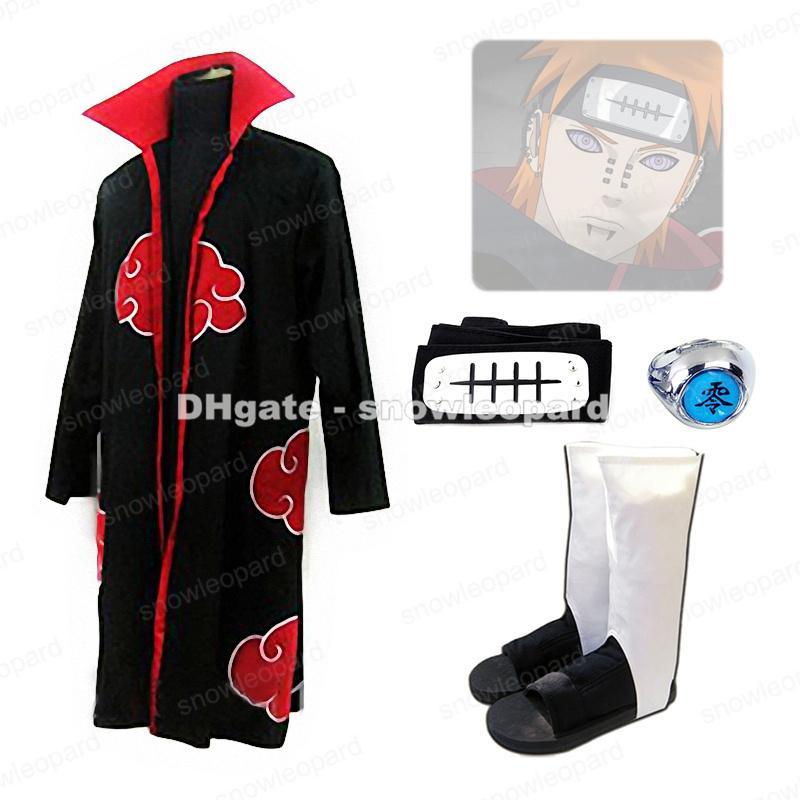 Compre Naruto Akatsuki Dolor Nagato Cosplay Capa Traje Diadema Anillo  Zapatos A  40.61 Del Snowleopard  53ebfcd5cfc