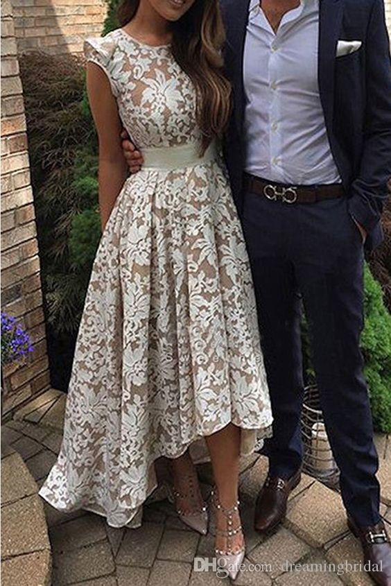 2017 Elegant White Champagne High Low Party Dresses Jewel Neck Cap Sleeve Zipper Prom Cocktail Dresses Homecoming Dresses
